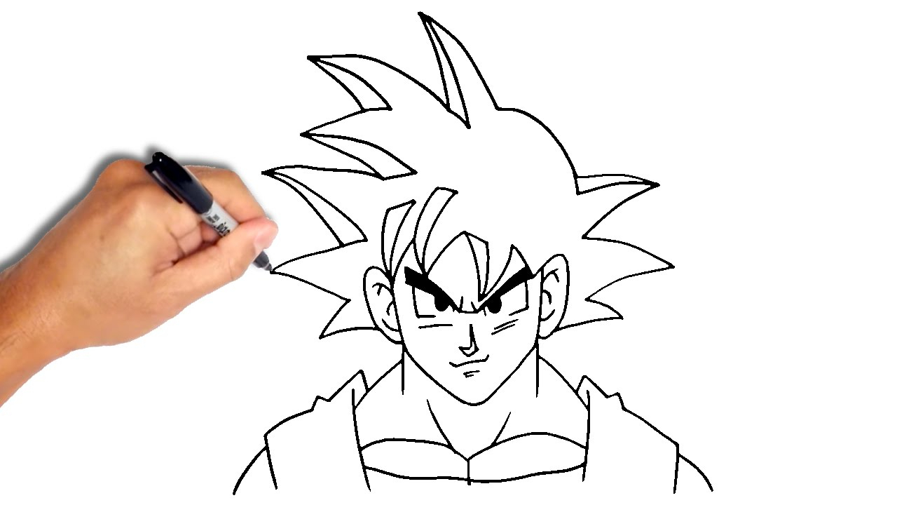 1280x720 Easy To Drawing Dragon Faces How To Draw Goku From Dragon Ball