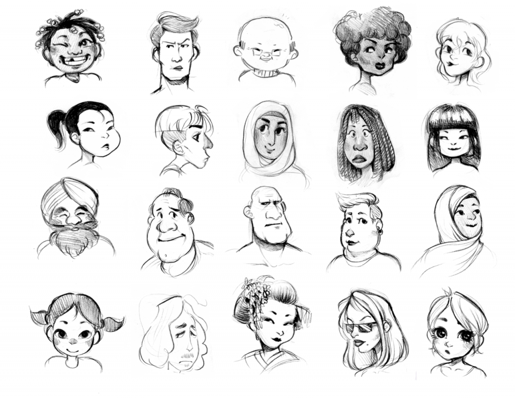 1024x791 Simple Drawing Of Different Faces Drawing Different Faces How