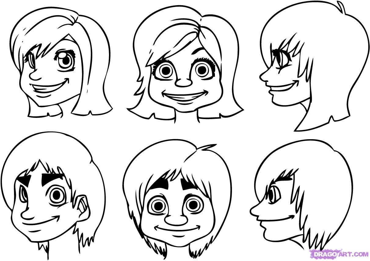 1212x857 Cartoon Face Drawings Drawing How To Draw Easy Cartoon Faces