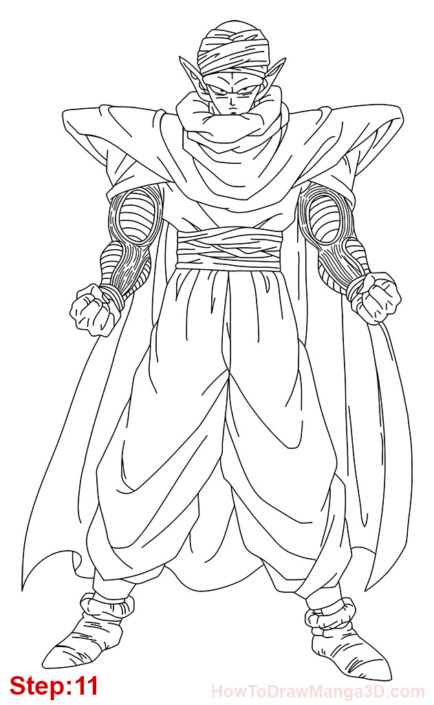 631x1024 How To Draw Piccolo From Dragon Ball Step 11 Z