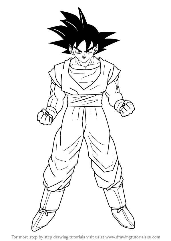 598x844 Learn How To Draw Goku From Dragon Ball Z (Doraemon) Step By Step
