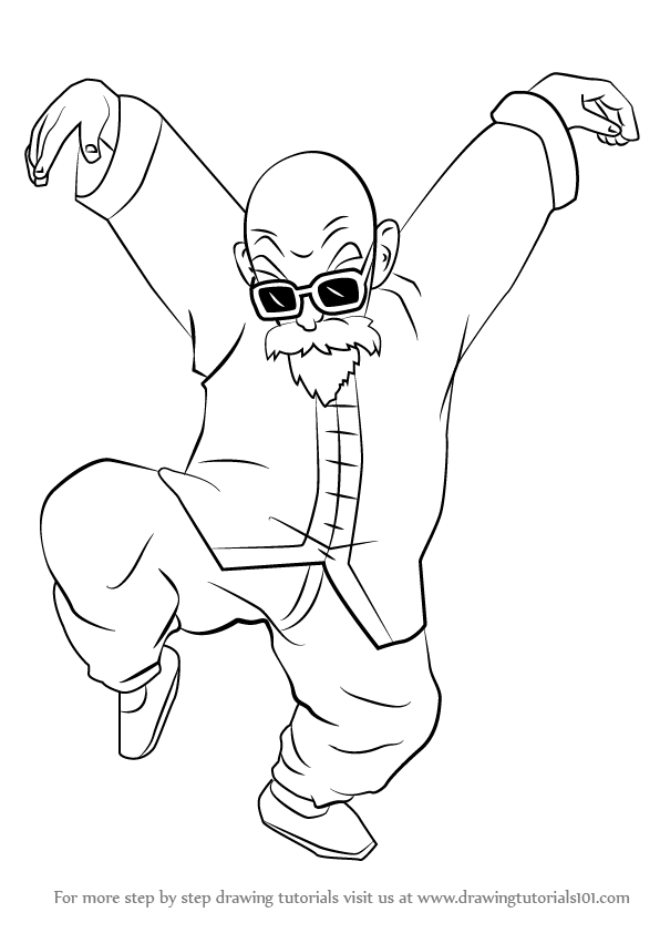 596x842 Learn How To Draw Master Roshi From Dragon Ball Z (Dragon Ball Z