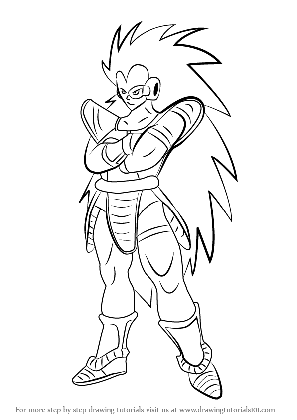 596x842 Learn How To Draw Raditz From Dragon Ball Z (Dragon Ball Z) Step