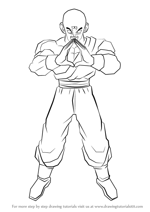 596x842 Learn How To Draw Tien From Dragon Ball Z (Dragon Ball Z) Step By