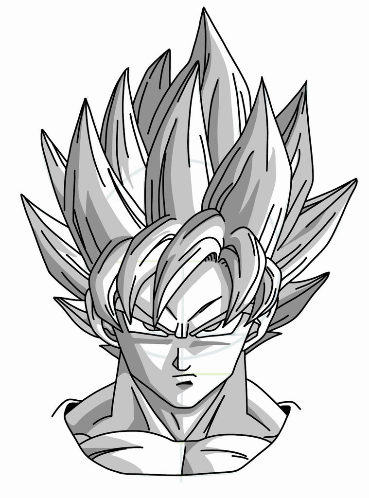 759x1024 Drawing Goku Super Saiyan From Dragonball Z Tutorial Dragonball