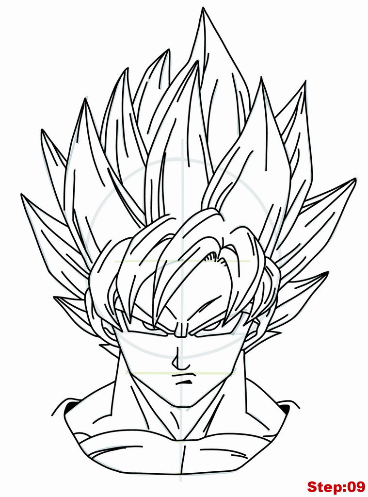 759x1024 Drawing Goku Super Saiyan From Dragonball Z Tutorial Step 09 How