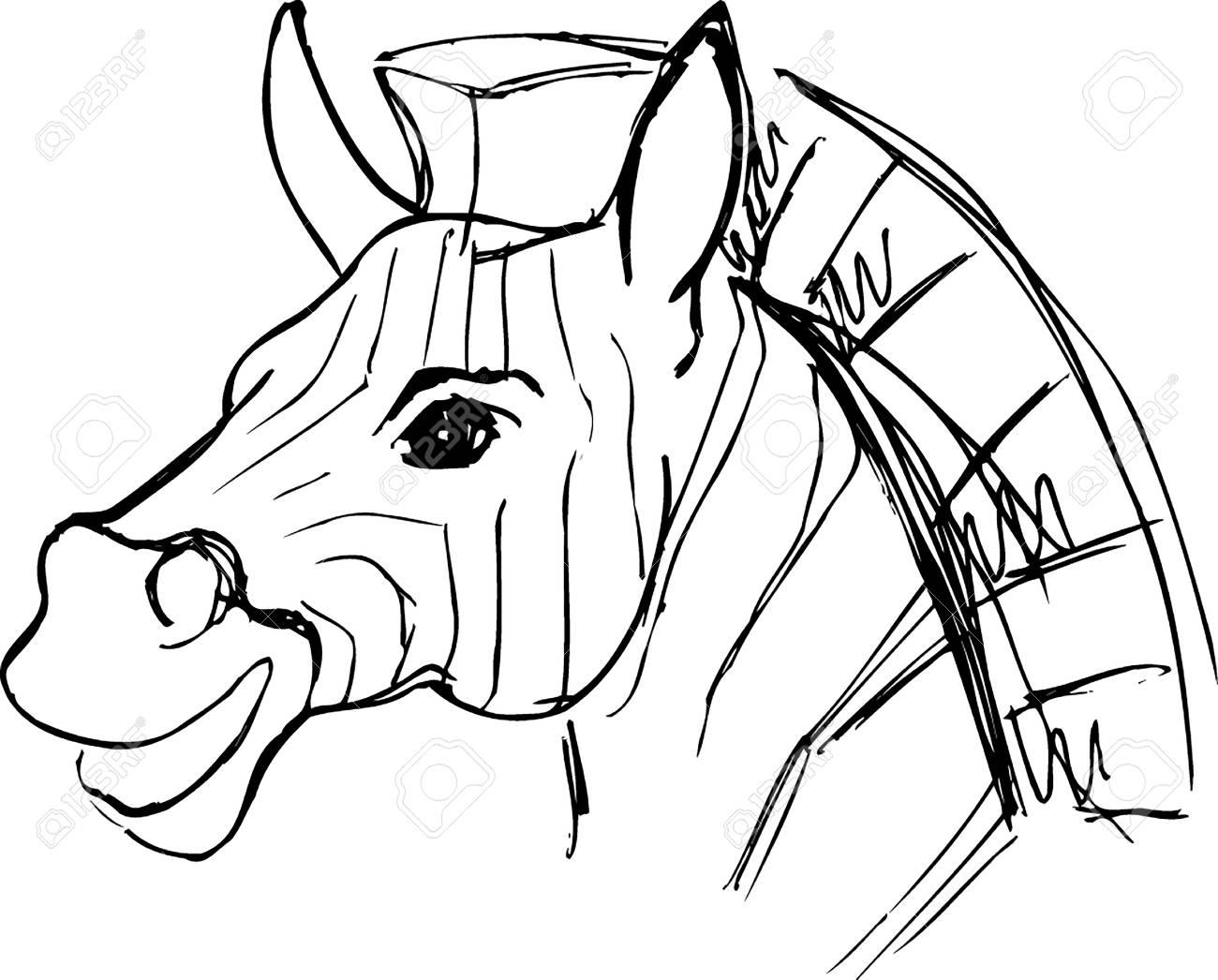 1300x1046 Drawing Sketch Of A Zebra Cartoon Portrait Royalty Free Cliparts