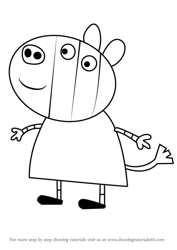 566x800 Learn How To Draw Zoe Zebra From Peppa Pig (Peppa Pig) Step By