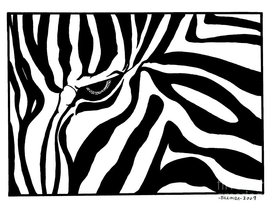 900x693 Eye Of The Zebra Drawing by Billinda Brandli DeVillez