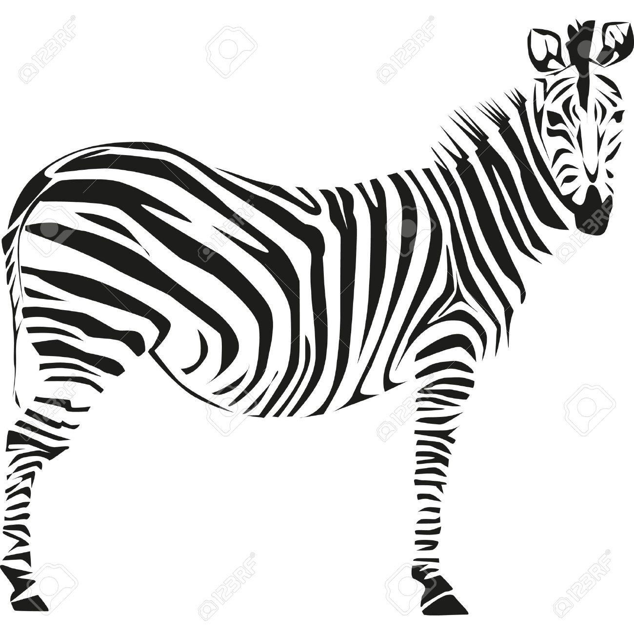 1300x1300 Drawing Of A Zebra On The African Savannah Royalty Free Cliparts