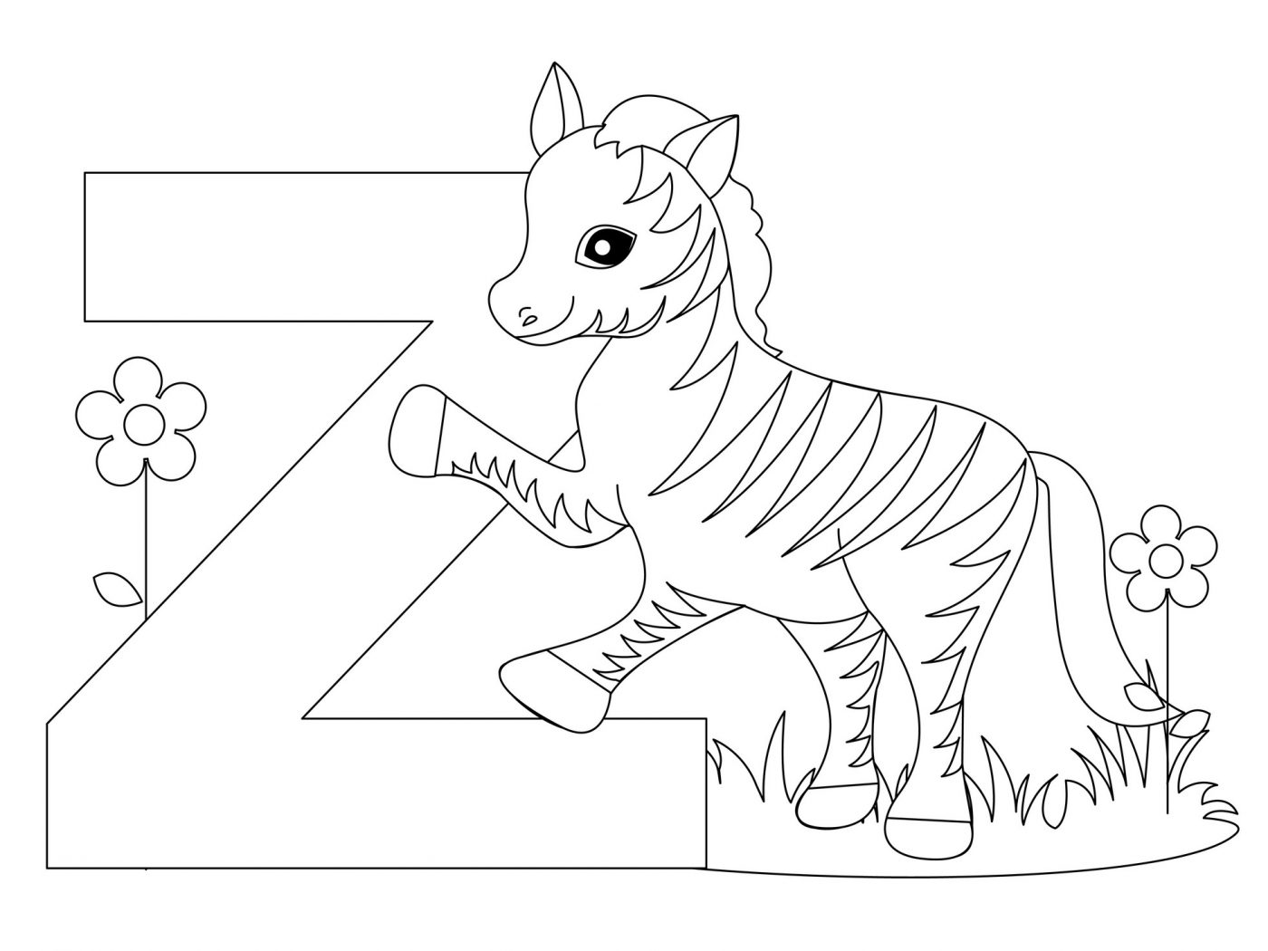 1400x1050 Letter Z Coloring Pages Is For Zebra To Print Free Printable Kids