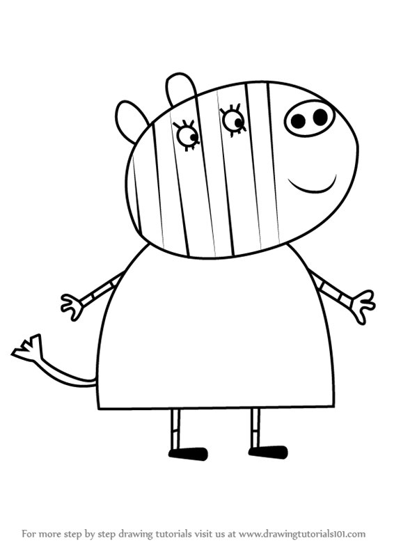 566x800 Learn How To Draw Mrs. Zebra From Peppa Pig (Peppa Pig) Step By