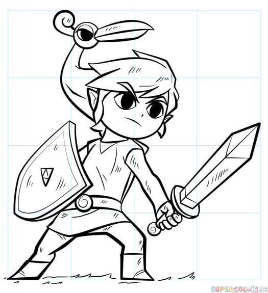 525x575 How To Draw Link From Legend Of Zelda Step By Step Drawing Tutorials