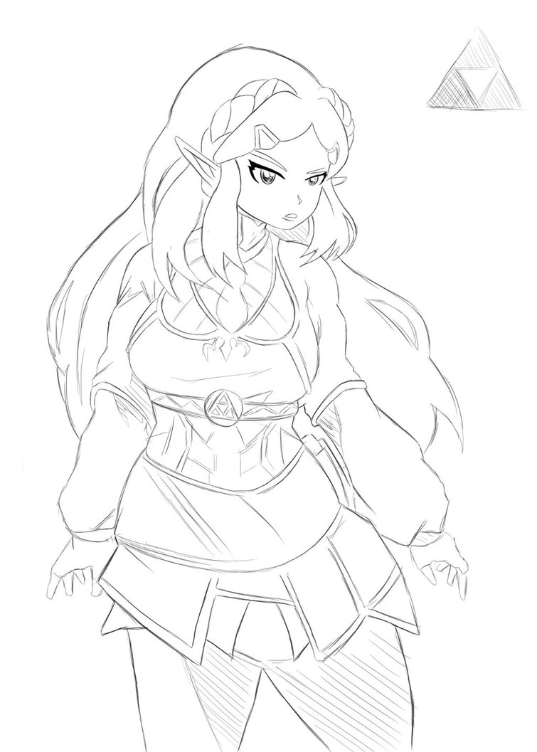 755x1057 Princess Zelda Drawing By Selairy