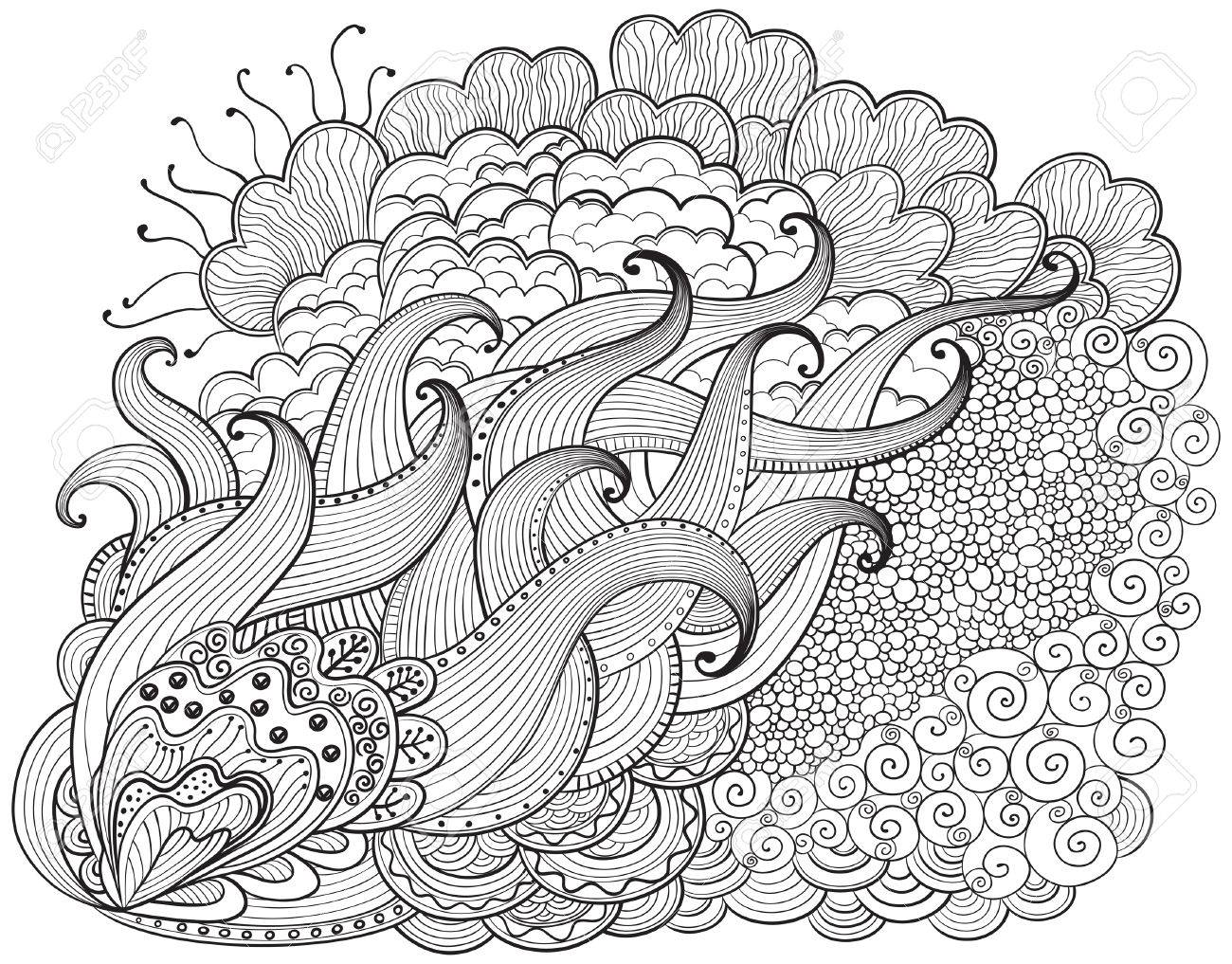 1300x1017 Hand Drawn Abstract Zendoodle Background. Vector Outline Abstract