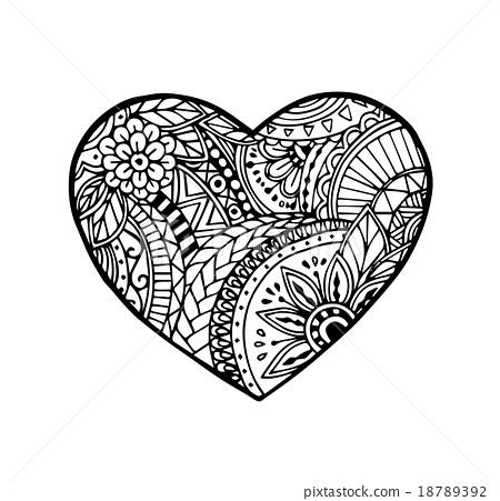 Artistic floral doodle heart in zentangle style Vector Image |Zentangle Heart Graphics
