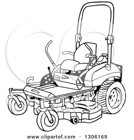450x470 Clipart Of A Cartoon Red Riding Lawn Mower