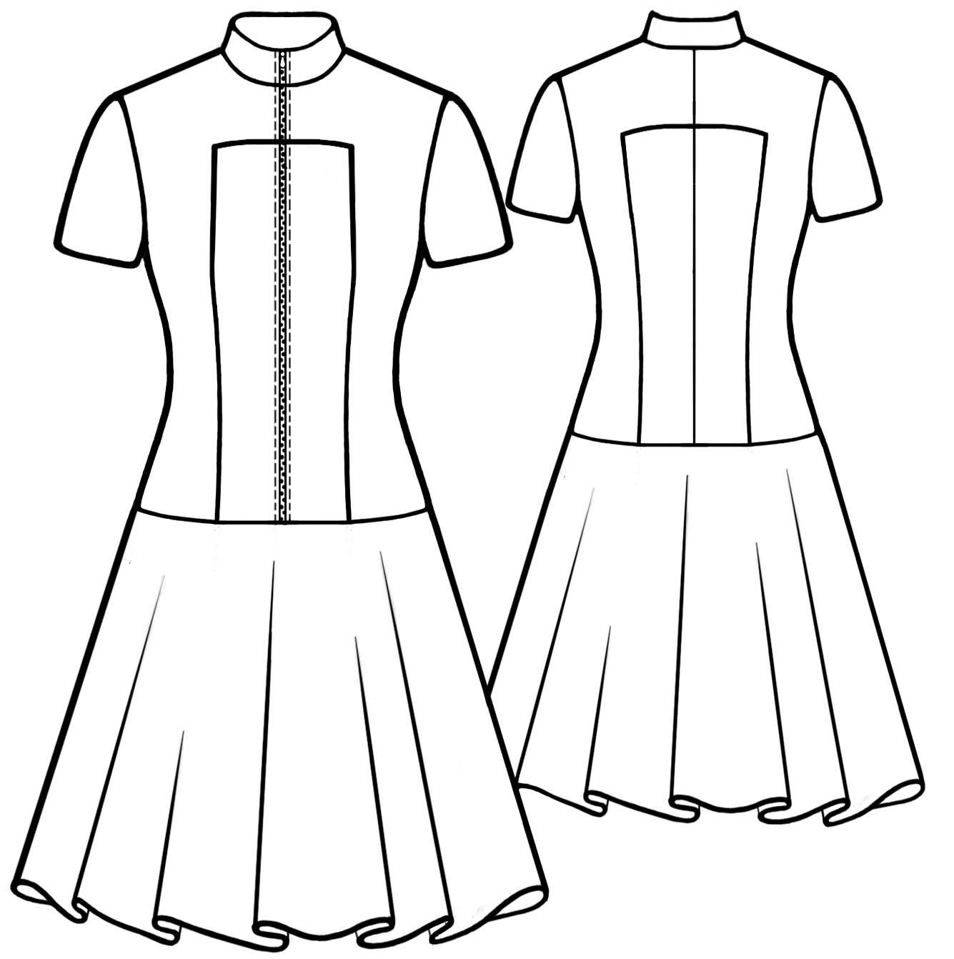 1335x1342 Short Sleeved Dress With Zipper