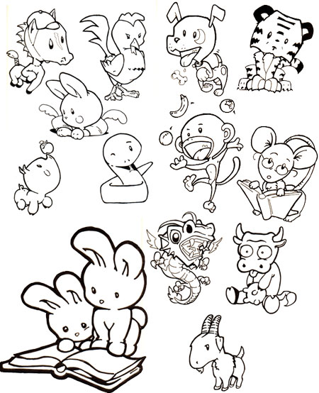 450x554 Cute Chinese Zodiac Animals By ~officemonkeyking