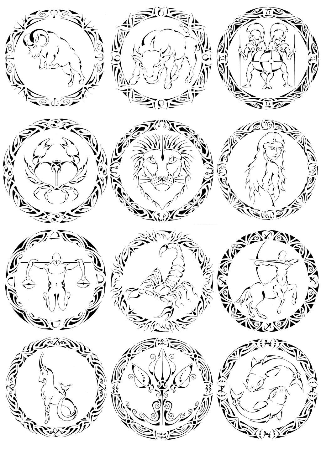 1024x1434 Tribal Zodiac Signs By Curvy Tribal