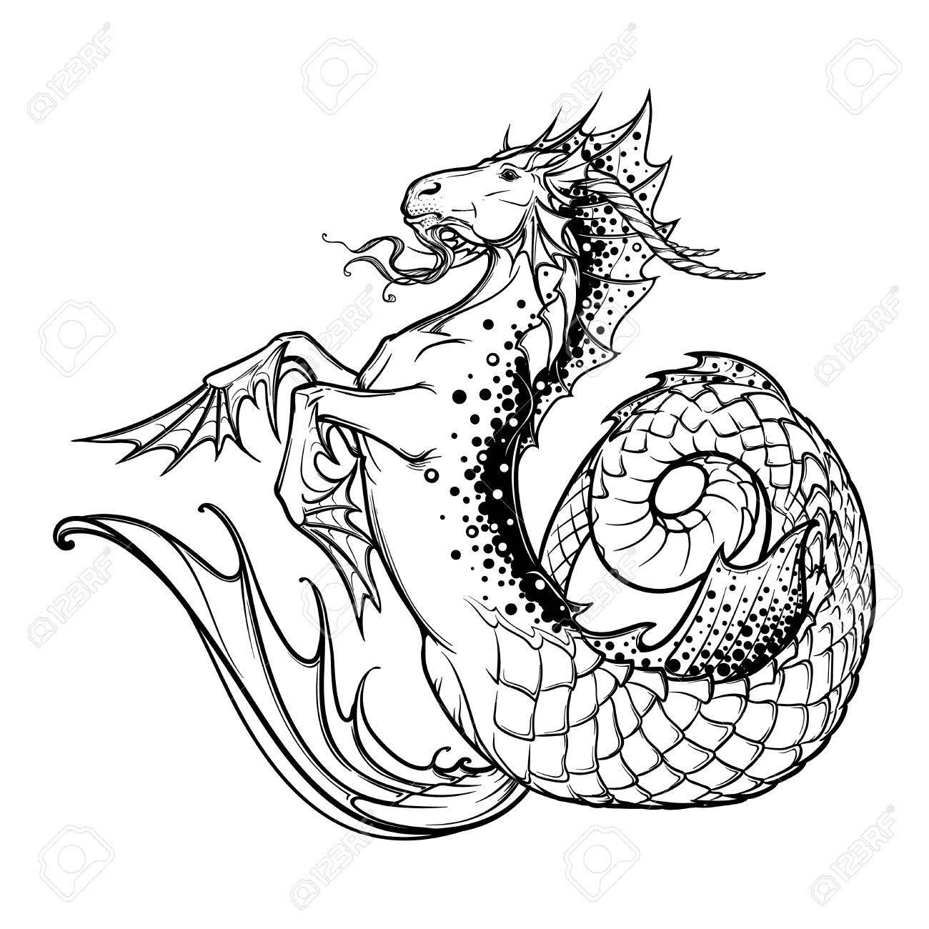 1300x1300 Zodiac Sign Capricorn. Fantastic Sea Creature With Body