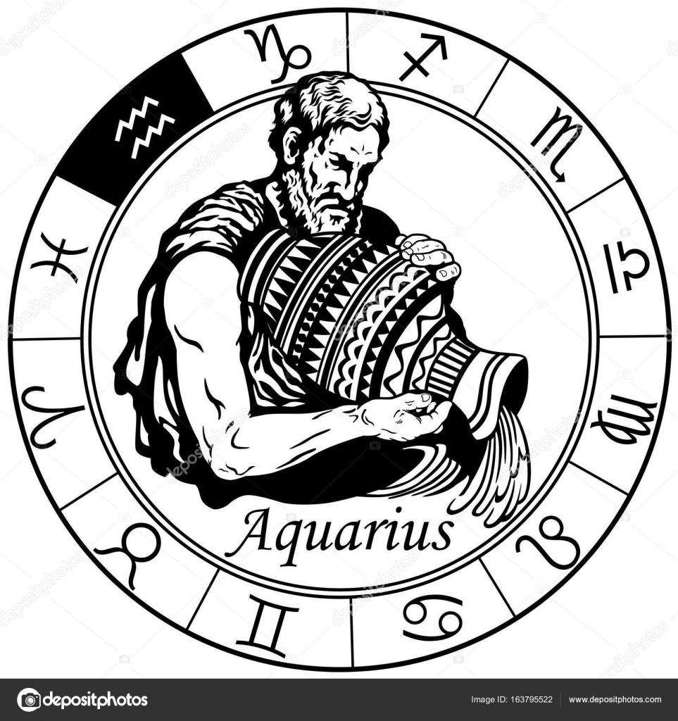963x1024 Aquarius Zodiac Sign Black White Stock Vector Insima