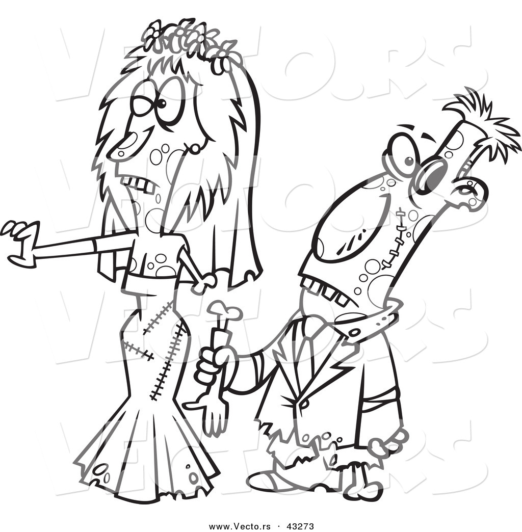1024x1044 Vector Of A Scary Cartoon Zombie Bride And Groom Walking Together
