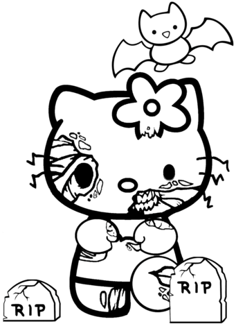 341x480 Hello Kitty Halloween Zombie Coloring Page Free Printable
