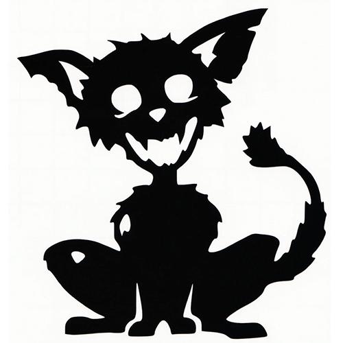 500x500 Zombie Cat Die Cut Vinyl Decal Pv1094