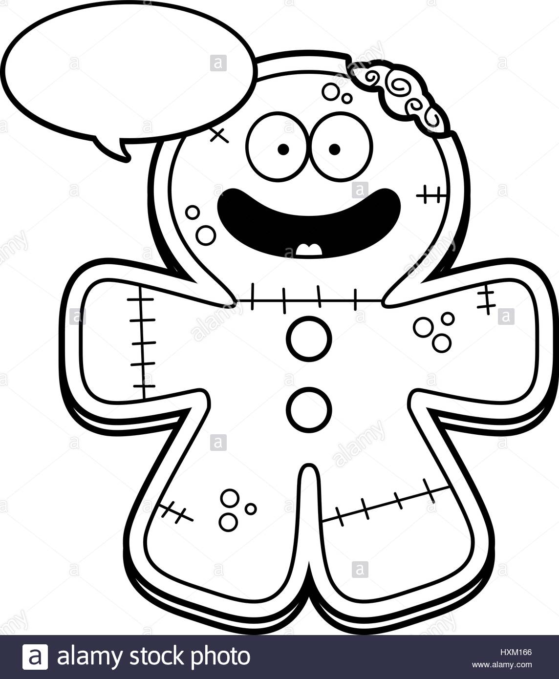 1144x1390 A Cartoon Illustration Of A Gingerbread Zombie Talking Stock