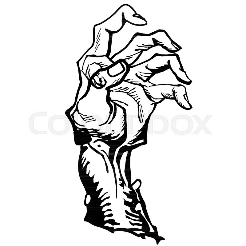800x800 Zombie Hand Emerging From The Ground Cartoon Illustration Isolated