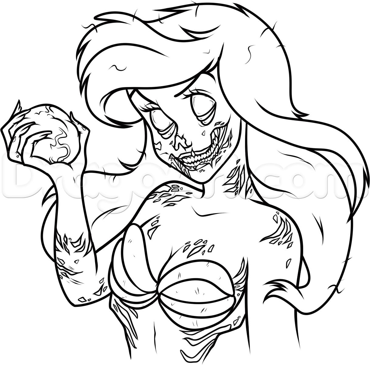 1217x1199 How To Draw Zombie Ariel Step 15 Disney Ariel