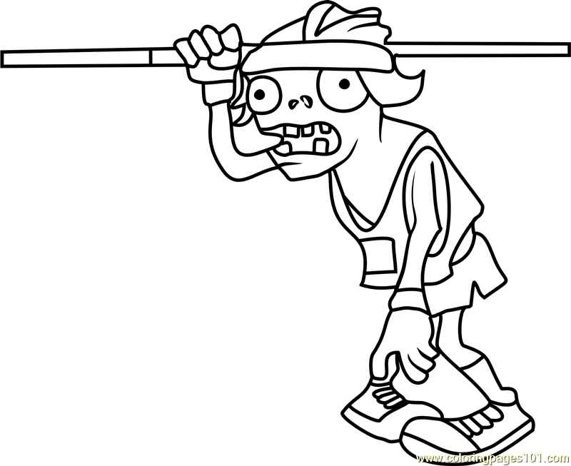800x653 Plant Vs Zombies Coloring Pages Pole Vaulting Zombie Free For Kids