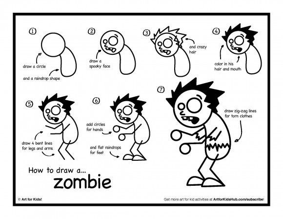 580x448 How To Draw A Zombie From Plants Vs Zombies Scary Drawings