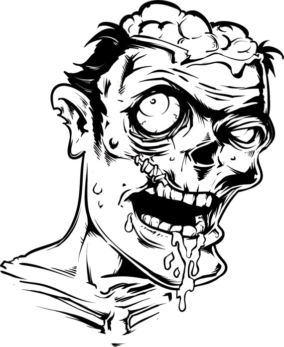 570x697 zombie face wall decal sticker the walking dead black zombies