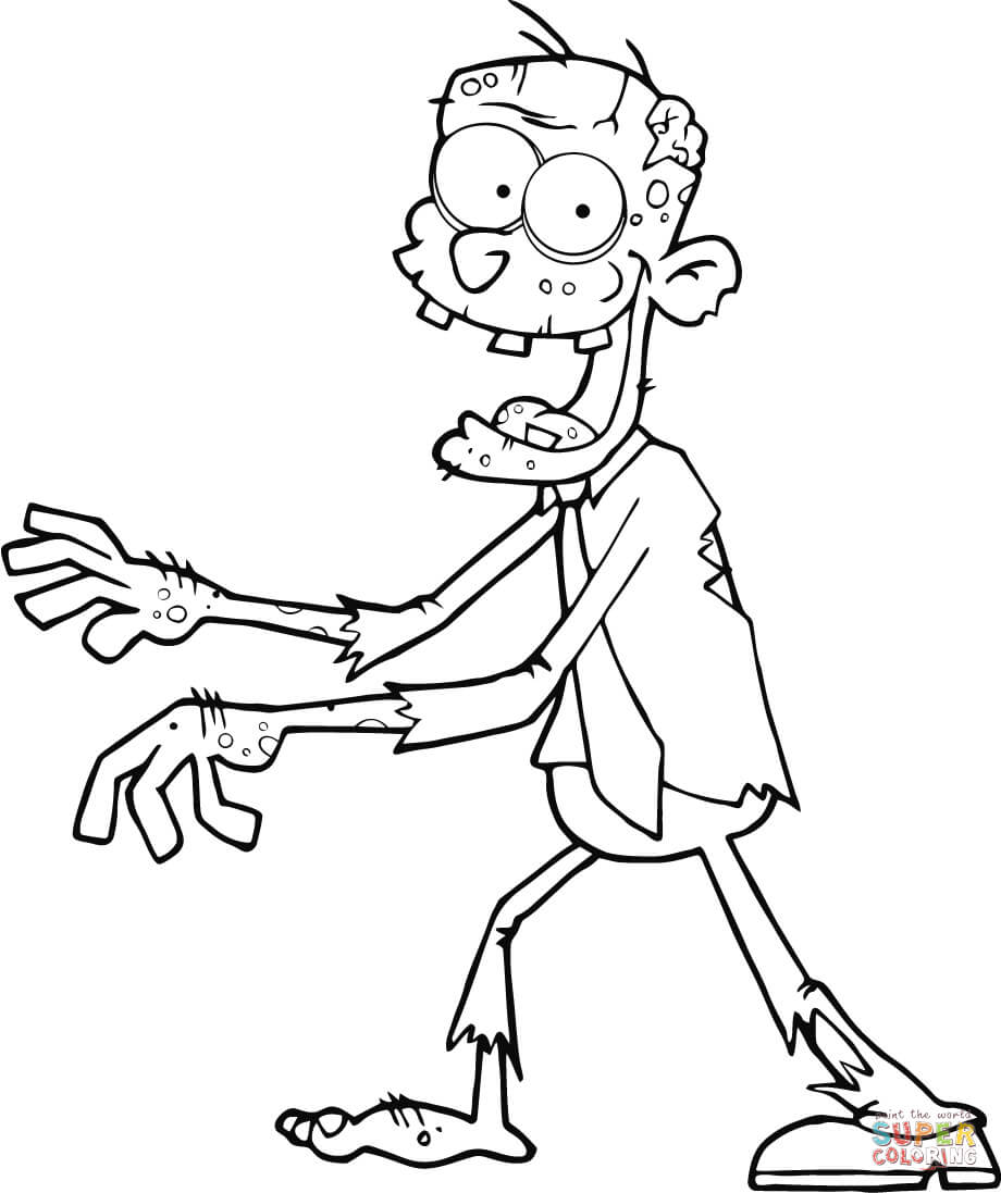 920x1097 Zombie Walking With Hands In Front Coloring Page Free Printable