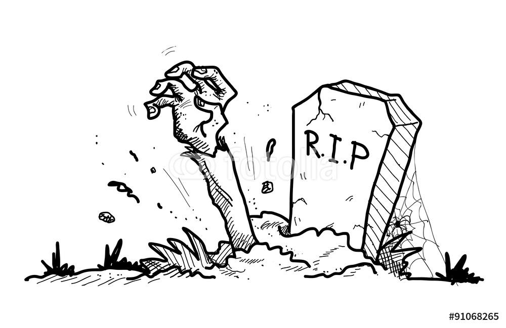 1000x649 Grave Doodle A Hand Drawn Doodle A Grave The Arm Of A Zombie