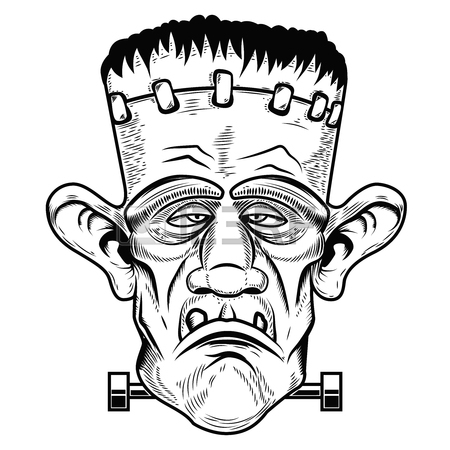 450x450 Monster Head. Halloween Zombie. Design Element For Poster