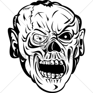 325x325 Zombie Skull Face Monster Gl Stock Images