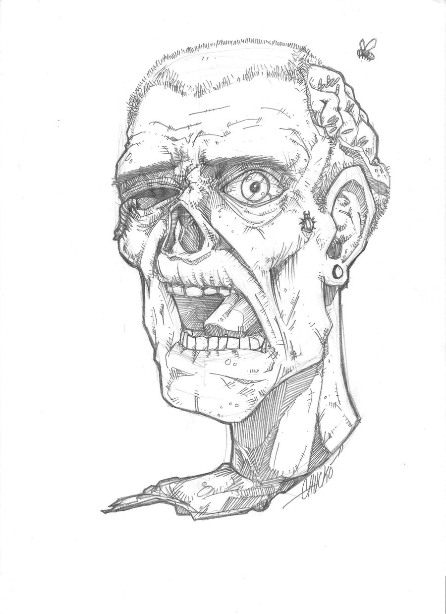 900x1238 Zombie Head By Chuckoart