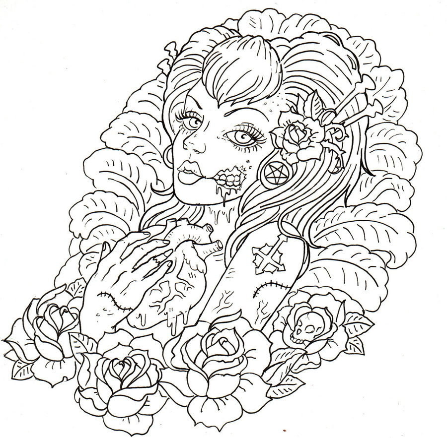 Zombie Outline Drawing At Getdrawings Com Free For Personal Use