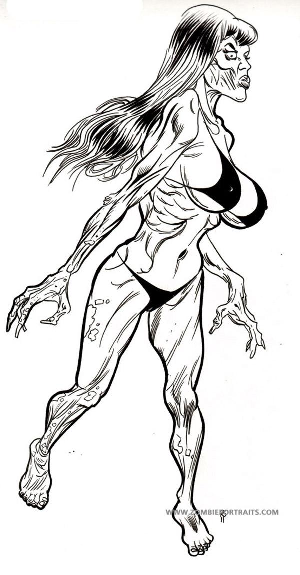 600x1151 Zombie Pin Up Girl In Bikini