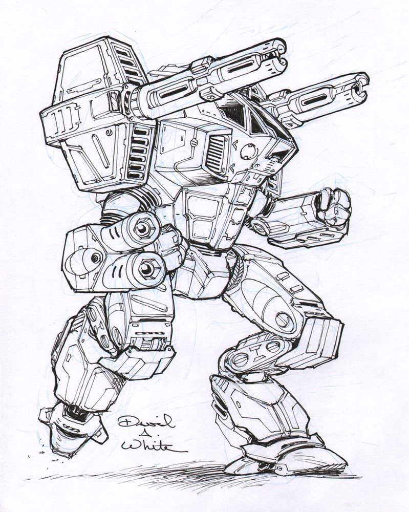 799x1000 Legacy Mech Sketch By Mecha Zone Battletech 6mm Epic Micro