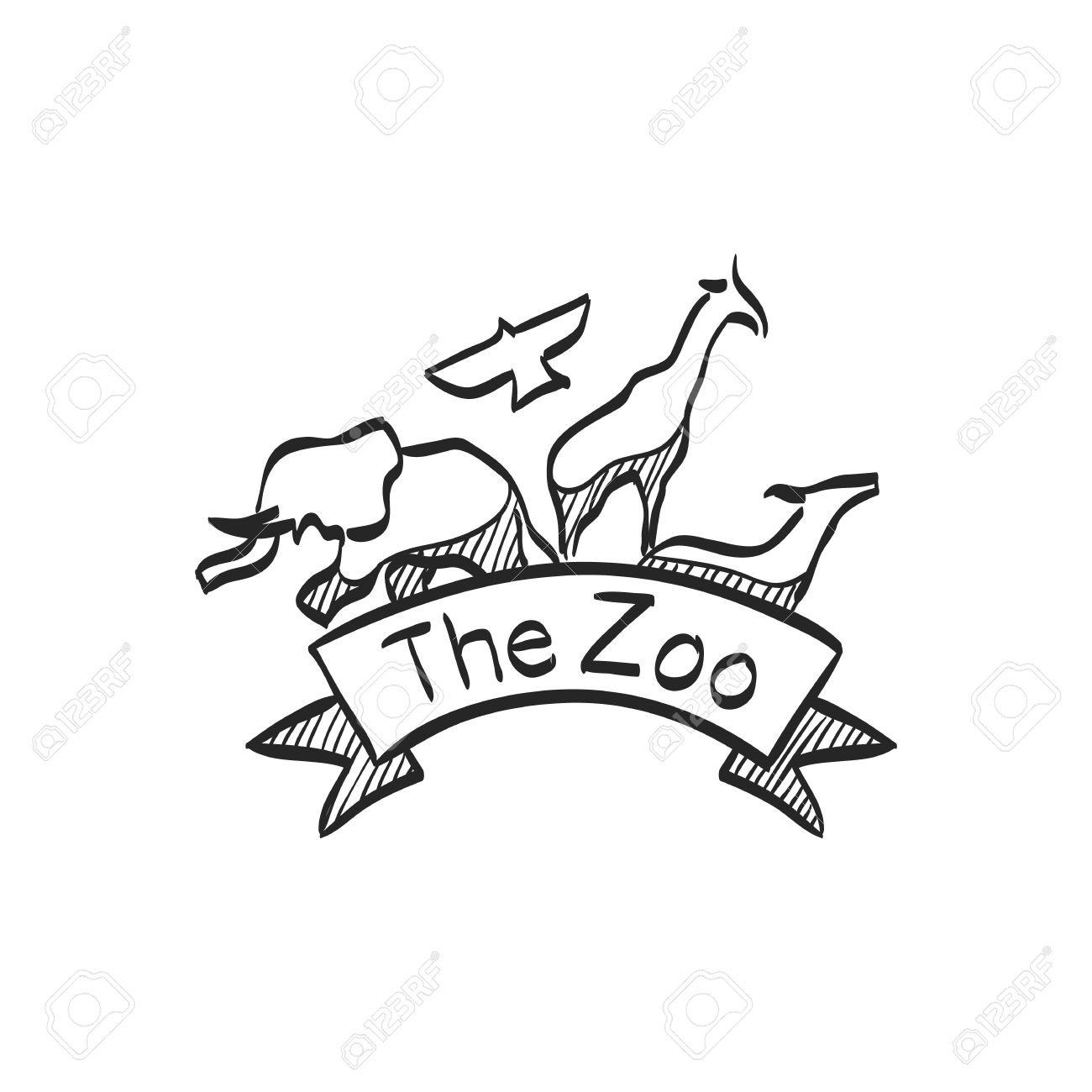 1300x1300 Zoo Gate Icon In Doodle Sketch Lines. Animal Park Jungle Safari