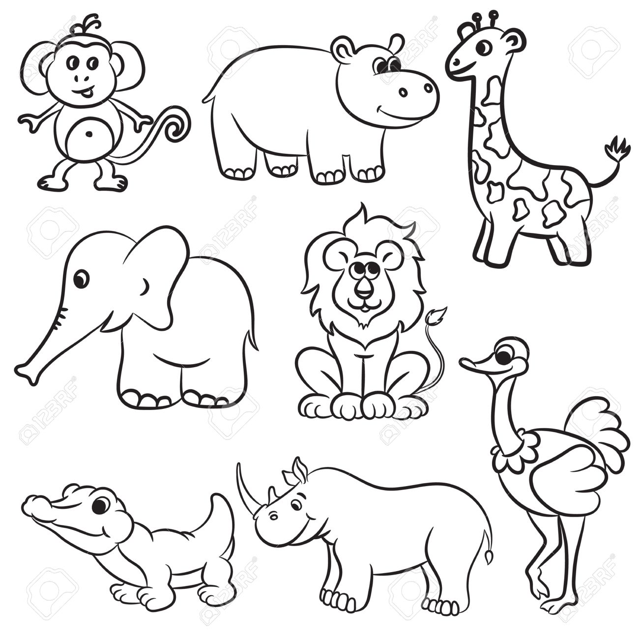 1300x1300 Cute Outlined Zoo Animals Collection. Vector Illustration. Royalty