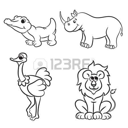 450x450 Cute Zoo Animals Collection. Vector Illustration. Royalty Free