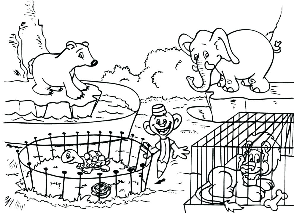 1008x718 Zoo Animal Coloring Page Pages And Easy To Color Animals