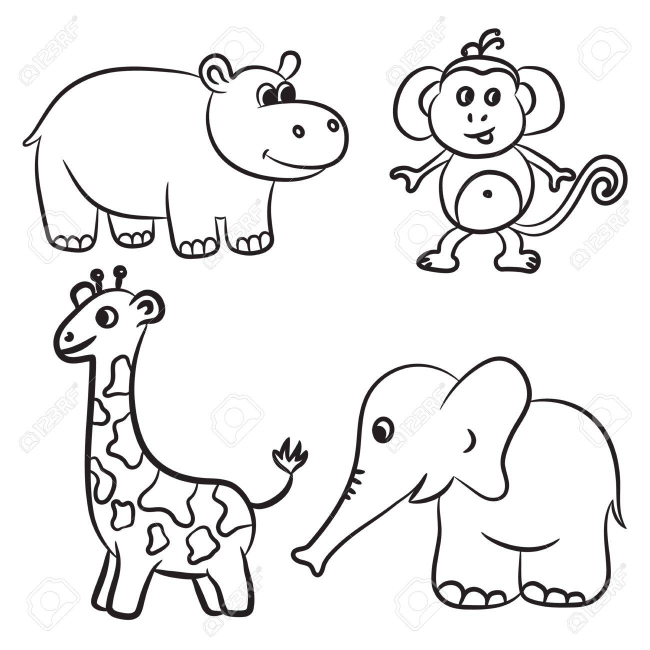 1300x1300 Cute Outlined Zoo Animals Collection. Royalty Free Cliparts