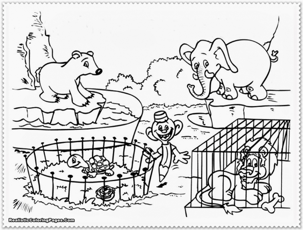 1024x778 Zoo Drawing For Children Zoo Cartoon People Family With Animals