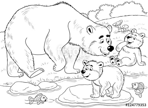500x364 At The Zoo. Cute Forest Animals. A Family Of Cute Bears. Mother